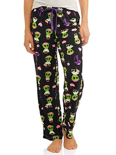 Womens Halloween Jersey Cotton Drawstring Pajama Sleep Pants (Small-3XL) (X-Large 16-18, Black Soot Zombie)