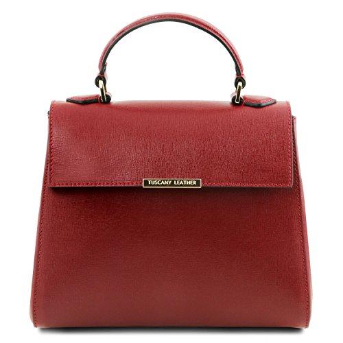 Leather Tuscany Pelle Tl Rosso In Saffiano Bauletto Bag Lipstick Piccolo p6ORWd76wq