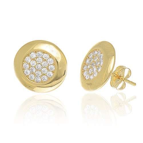 JewelStop 14K Yellow Gold Micro Pave CZ Circle Round Button Earrings, 1.43gr.