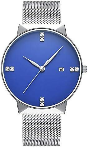 LILI クォーツ 腕時計 3ATM 防水 カレンダー 超軽量 薄型 男女兼用 シンプル 就活 通学 普段用 ウォッチ (Color : 03ブルー)