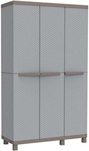 PEBSHOP Armario 3 Puertas de Resina l.102 X p.39 X h.170 cm. Grigio-Tortora: Amazon.es: Jardín