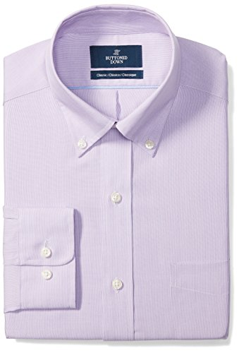 BUTTONED DOWN Men's Classic Fit Button-Collar Pattern Non-Iron Dress Shirt, Purple Mini Houndstooth, 16.5