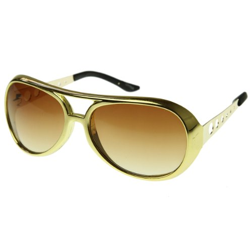 Large Elvis King of Rock Rock & Roll TCB Aviator Sunglasses (Gold)]()