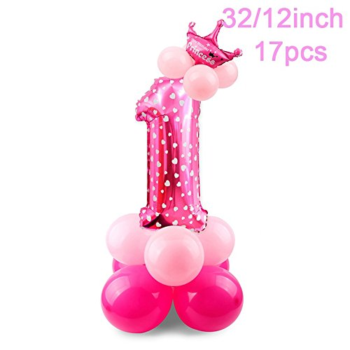 SRQQ 5Pcs Baby 1St Birthday Balloons Blue Pink Foil Balloons Happy Birthday Party Decoration Kids I AM ONE Party Supplies 17pcs Pink 1