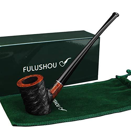 FULUSHOU Mediterranean Briar Wood Tobacco Pipe, Simple Atmosphere Tobacco Pipe - Desktop Reading Carved Pipe