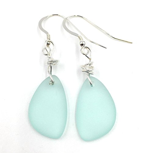 Christmas Handmade Gift - Best selling Nautical Sea Foam GREEN Sea Glass Earrings with Charming Handmade Silver Knot on Sterling Silver Hooks Terrific Christmas Gift