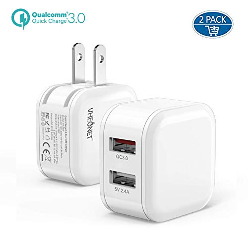 Quick Charge USB Wall Charger Mini QC Charger 30W 2-Pack Fast Charger 3.0 + 2.4A Dual Ports Power Adapter with Foldable Plug for Samsung Galaxy iPhone iPad Google Pixel Tablet and More