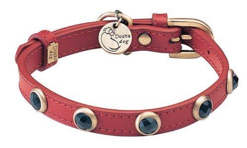 """7""""-8.5"""" neck, Onyx Pebbie Red Leather Dog Collar - Size: XXS 1/2"""" wide"""