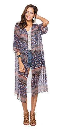Multicoloured01 Joygown Cover Cardigan Delle Boho Donne Kimono Up Sciolto Mantelle Floreale Beachwear wPZSq4YnYC