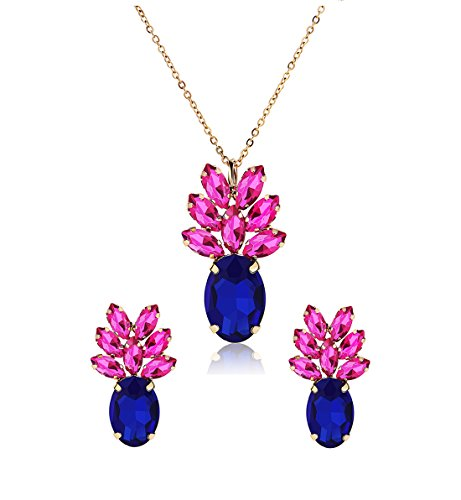 Sparkling Yellow Emerald Crystal Vintage Trendy Fruit Pineapple Earrings Stud Necklace Jewelry Sets For Women Girls (pineapple earring) (Blue Pink Necklace Earring -