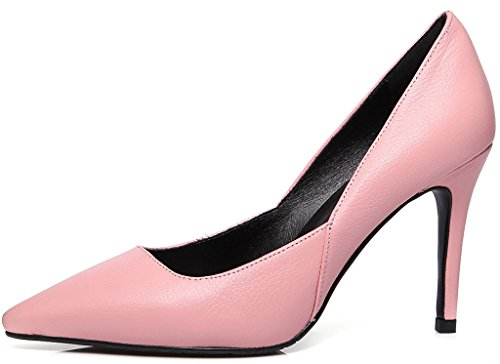 Calaier Womens Jtaan Pointed-Toe 9.5CM Stiletto Slip-on Pumps Shoes Pink Zsxns