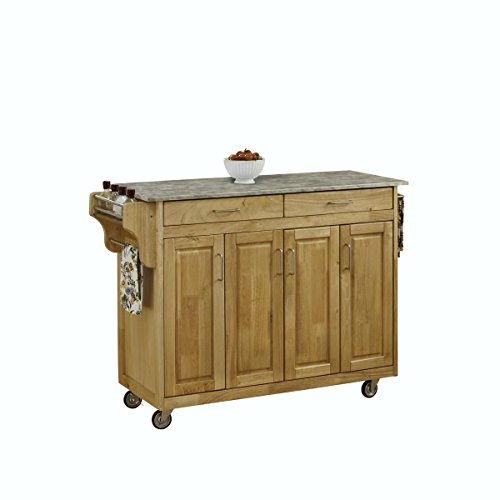 Home Styles 4-Cabinet Door Create-a-Cart with Concrete Top, Natural/Gray
