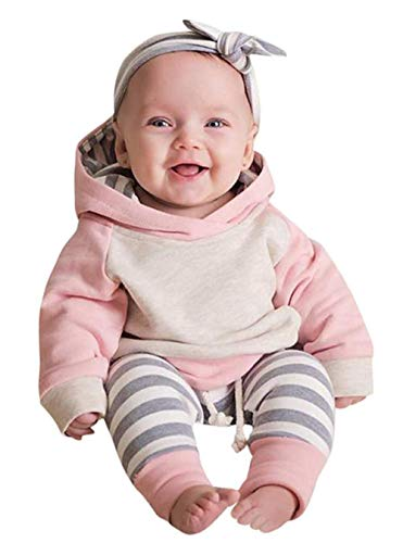 Newborn Baby Girls Clothes Long Sleeve Summer Breathable Hoodie Tops Sweatsuit Pants with Headband Outfits Set(18-24 Months)