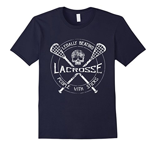 Mens Lacrosse: Legally Beating People With Sticks-Funny T-Shirt XL Navy