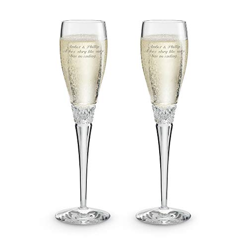 Things Remembered Personalized Diamond Cut Crystal Toasting Flutes with Engraving Included