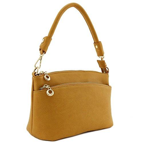 Double Zip Pocket Versatile Crossbody Bag (Mustard)