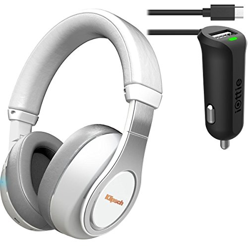 Klipsch Reference Over-Ear Bluetooth Headphones (White) Bundle & iOttie Car Charger