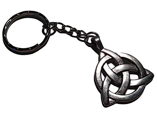 Lovely Celtic Triquetra Charm Key Chain in Antiqued Silver Toned Overlay