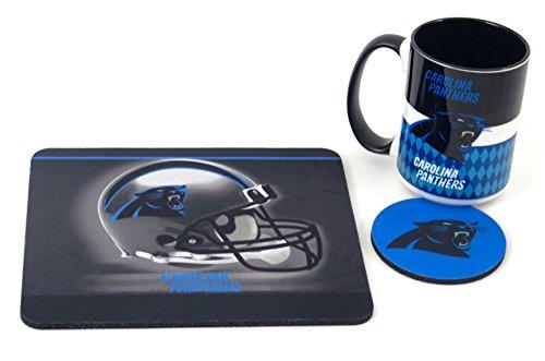 Coffee Mug Mouse Pad (Carolina Panthers work station, computer set. Includes coffee mug, Mouse pad, coaster, 3 pieces set.)