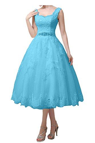 Knielang Braut La A Partykleider Linie Prinzess Gruen Festlichkleider Traeger Blau Abendkleider Zwei Rock Ballkleider mia zqpq4