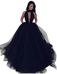 Elegant Long Halter Backless Tulle Ball Gown Prom Dress with Pockets