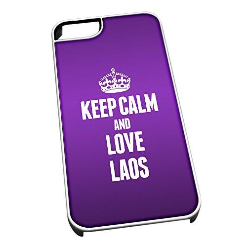Bianco cover per iPhone 5/5S 2223viola Keep Calm and Love Laos