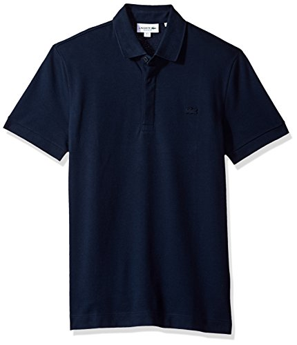 Lacoste Men's Short Sleeve Solid Stretch Pique Regular Fit Paris Polo, PH5522, Navy Blue, (Solid Stretch Pique Polo)