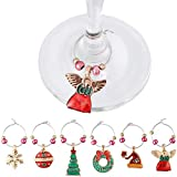Boao 12 Pieces Wine Glass Rings Charms Christmas Drink Markers Wine Ring Charms for Party Bar Table Decoration, 6 Styles