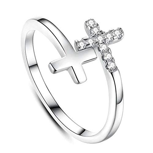 (Beautiful Christian Cross Crystal CZ Accented Open Adjustable Ring, 925 Sterling Silver Plated, Size 9)