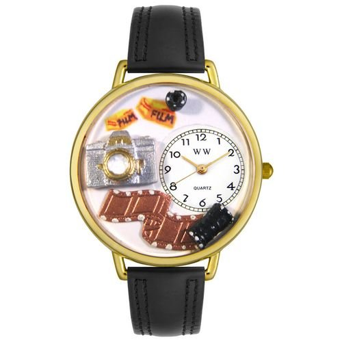 Whimsical Watches Unisex G0610012 Photographer Black Padded Leather Watch