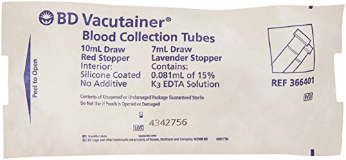 (BD 366401 Vacutainer Sterile Glass Tube with Red and Lavender Conventional Closures, 7mL and 10mL Capacity, 16mm and 13mm Diameter x 100mm Length (Case of)