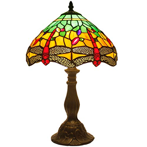 Tiffany Table Lamp 18 Inch Tall Green Yellow Stained Glass Lampshade Crystal Bead Dragonfly Style Anqitue Coffee Table Desk Dresser Bookcase Beside Light for Living Room Bedroom S009G WERFACTORY ()