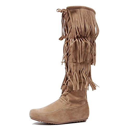 West Blvd Womens Lima Suede Fringe Moccasin Boots Taupev2 Suede