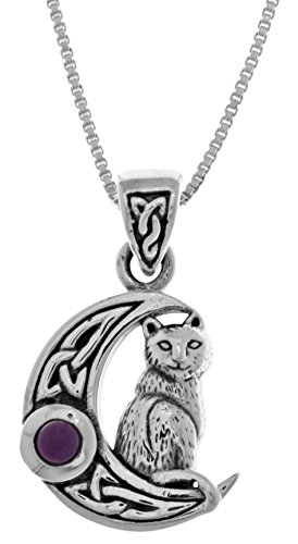 Jewelry Trends Sterling Silver Celtic Moon and Cat Pendant with Amethyst on 18