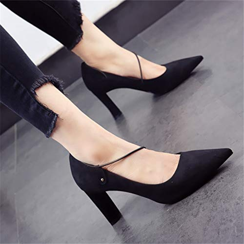 heels heeled pointed shoes shallow A European ladies fashion suede mouth work single high thick party shoes shoes YMFIE style 10Xq7w1E