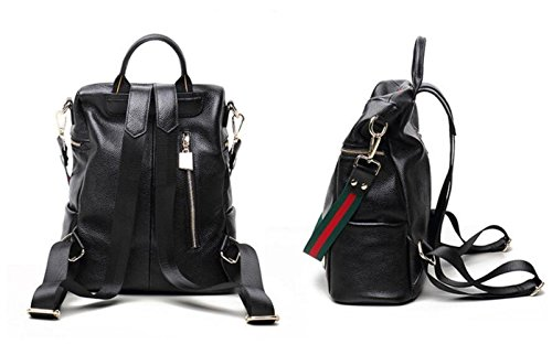 New Double Casual Handbags Green School Shoulder Genuine Daypack Leather Bag Fashion Women's Travel Stripe Backpack Bag qHtSw7Y