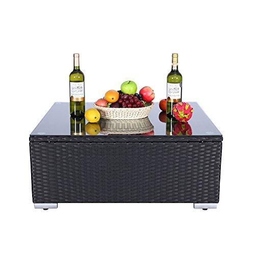 Do4U 3-12 Pieces PE Rattan Wicker Sofa Sectional Sofa Set Outdoor Patio Furniture Set (Coffee Table, Black) - Patio Furniture Coffee Table