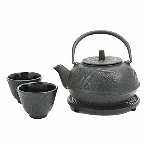 Happy Sales HSCT-BMB03, Cast Iron Tea Pot Tea Set Bamboo Black