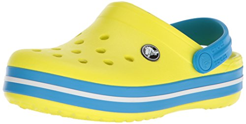 (Crocs Kids' Crocband Clog, tennis ball green/ocean, 8 M US Toddler)