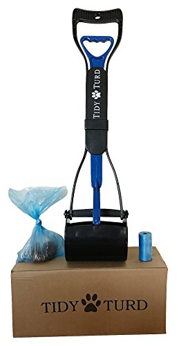 Tidy Turd Pooper Scooper for Dogs with Leak Proof Blue Poop Bags-Perfect for Small, Medium, Large, XL Pets - Best Long Handle, Portable, Jaw Claw Rake Bin-Heavy Duty w/Metal Springs-Great in Grass