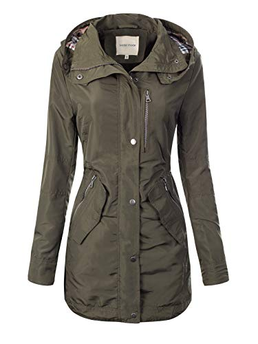 - Instar Mode Women's Anorak Safari Jacket with Contrast Plaid Lined Hood Olive XL