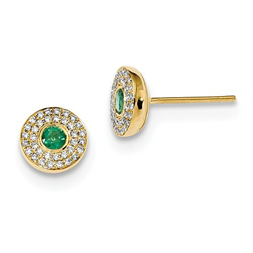 14k Yellow Gold Gold Diamond And Emerald Post Earrings (0.2ct (0.2 Ct Diamond Earrings)