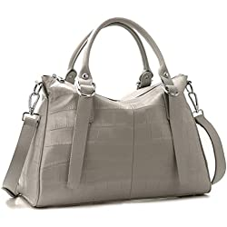 Iswee Women's Designer Leather Shoulder Bag Handbags Tote Purses Stone Pattern Satchel For Ladies On Clearance (Grey)