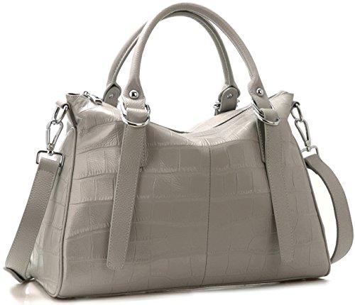 Animal Print Hobo Handbag (Iswee Women's Genuine Leather Handbag Soft Leather Tote Big Capacity Top Handle Shoulder Bag Stone Pattern Satchel Purse Cross Body Bag (White))