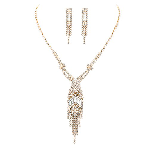 Rosemarie Collections Women's Fringe Rhinestone Necklace and Earrings Set (Gold Tone) ()