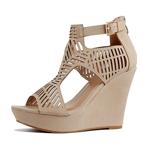 - Guilty Heart - Womens Gladiator Cut Out Comfortable High Platform Wedges Sandals, Beigev1 Pu, 5 B(M) US