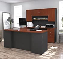Bestar Furniture 81411-39 Manhattan U-Shaped Workstation with Simple Pulls and 3 Drawers In Bordeaux and