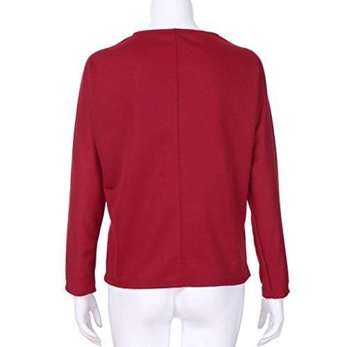 Tops Shirt Rouge T Color Manches Mode Femmes Longues Carreaux Block MuSheng Blouse Casual Cou O Chemise rgulier 71wxa6
