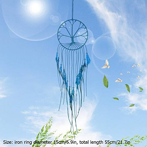 SeedWorld Wind Chimes & Hanging Decorations - Handmade Indian Dream Catcher Hanging with Rattan Bead Feathers Wall Car Decoration Ornament Dreamcatcher 1 PCs ()