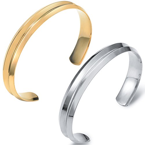 Areke Stainless Steel Grooved Cuff Bracelet for Women Girls - Hair Tie Band Bangle Elegant indent Jewelry Style Silver+Gold